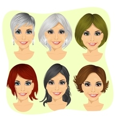 Young woman avatar with different hairstyles vector