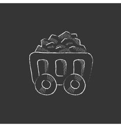 Mining coal cart drawn in chalk icon vector