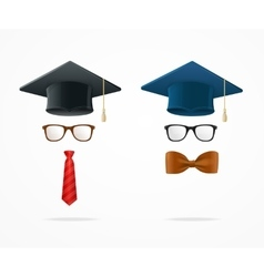 Professor graduated geek sign avatar vector