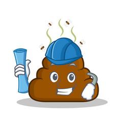 Architect poop emoticon character cartoon vector