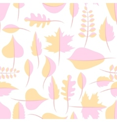 Autumn yellow and pink withered leaves seamless vector