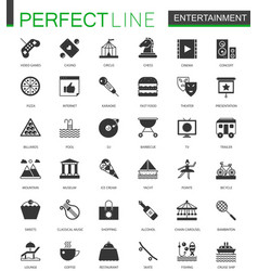 black classic entertainment icons set vector image