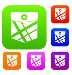 black pocket patch set color collection vector image