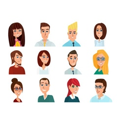 Business people flat avatars Men and women vector image vector image