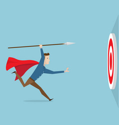 Businessman running with spear go to target vector