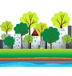 City buildings and trees along the river vector