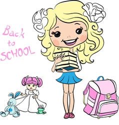 Cute baby school girl vector image