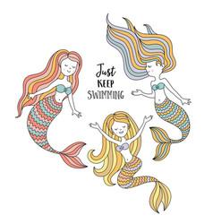 Cute little mermaids under the sea vector