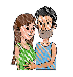 Drawing embracing couple relationship together vector