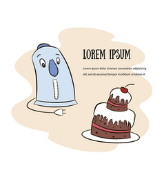 emotional banner teapot and cake vector image