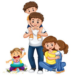 family with parents and three kids vector image vector image