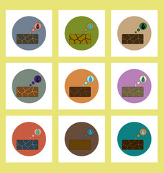 Flat icons set of cracked earth and water drop vector