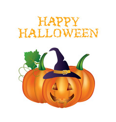 happy halloween card with pumpkins vector image