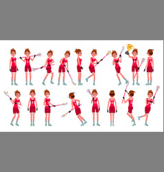 lacrosse girl catch the ball running vector image