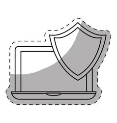 laptop shield server banner icon vector image