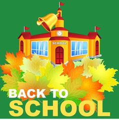 maple leaf and the school building vector image