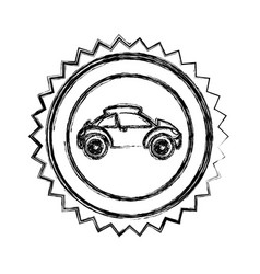 monochrome sketch of circular seal with sports car vector image
