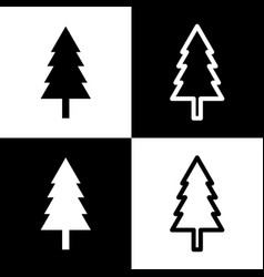 New year tree sign black and white icons vector