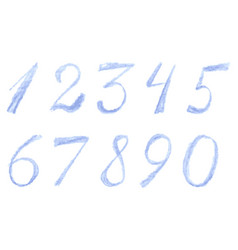 Numbers drawn by colored pencils vector
