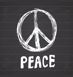 peace symbol hand drawn grunge hippie or pacifist vector image