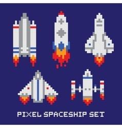 Pixel art spaceship isolated set vector image vector image
