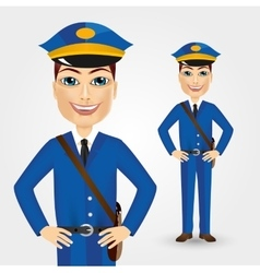 Postman with bag thrown over his shoulder vector