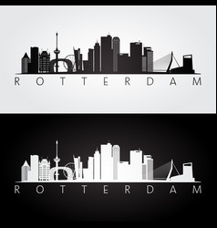 Rotterdam skyline and landmarks silhouette vector