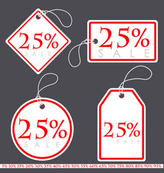 Set of bright white-red sale banners with various vector