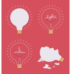Set of four light bulbs against crimson background vector