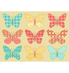 Set of patchwork butterflys 2 vector image vector image