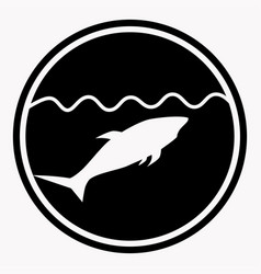 Warning isolated sign circle with shark under vector