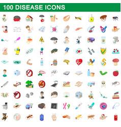 100 disease icons set cartoon style vector
