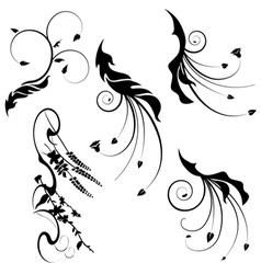 Decorative motifs leaves vector