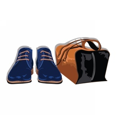 Male shoes and bag vector image