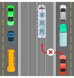 Car breaks traffic rules overtaking is forbidden vector