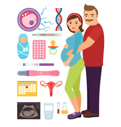 Young couple during pregnancy  problem and vector