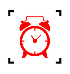 Alarm clock sign  red icon inside black vector