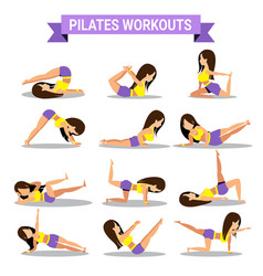 Set of pilates workouts design vector