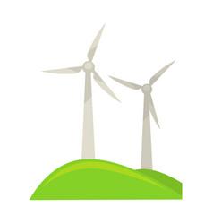 Wind energy generators on green piece of land vector