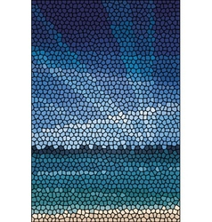 Mosaic abstract sea or ocean shore vector