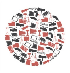Photographic and camera icons set in circle eps10 vector