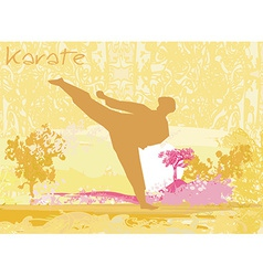 Karate man silhouette grunge poster vector