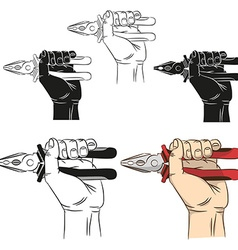Hand holds pliers vector