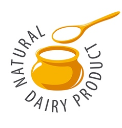 Logo pot and a spoon with milk product vector