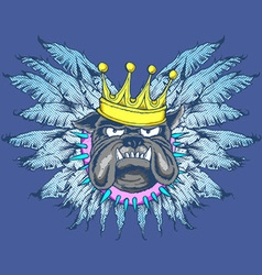 King dog with wings vector