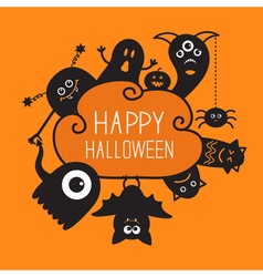 Happy halloween countour doodle ghost bat pumpkin vector