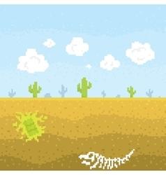 Pixel art desert vector image