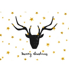 Black deer head gold foil stars merry xmas card vector