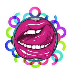 Mouth with colorful circles vector