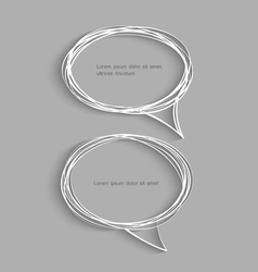Two hand drawn speech bubbles with shadow vector